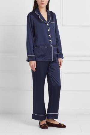 Шелковая пижама Coco Olivia von Halle. Цвет: темно-синий
