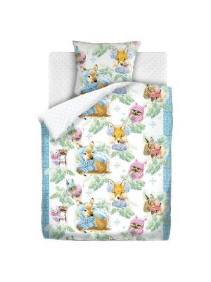 Комплект постельного белья 1,5 бязь Зимние зверята Непоседа. Цвет: белый