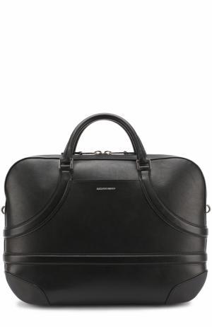 Кожаная сумка для ноутбука с плечевым ремнем Alexander McQueen. Цвет: черный