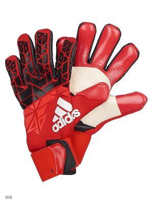 Вратарские перчатки Adidas. Цвет: красный
