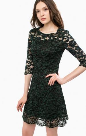 Кружевное коктейльное платье средней длины Liu Jo. Цвет: зеленый