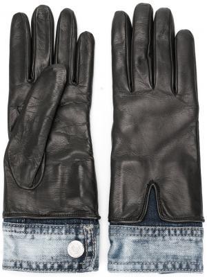 Перчатки с джинсовыми элементами Dsquared2. Цвет: чёрный