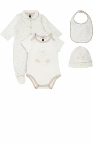 Хлопковый комплект из пижамы с шапкой и боди нагрудником Armani Junior. Цвет: белый