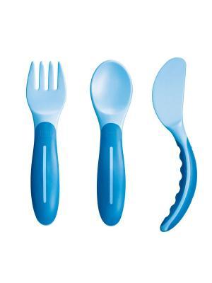 Набор столовых приборов (вилка, ложка, нож), от 6+ месяцев MAM. Цвет: голубой