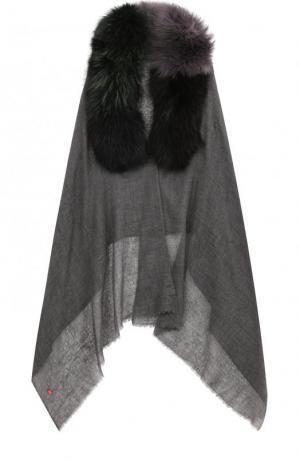 Кашемировая накидка с отделкой из меха песца Vintage Shades. Цвет: темно-серый