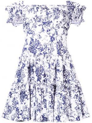 Floral print flared dress Caroline Constas. Цвет: синий