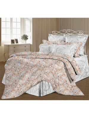 Комплект постельного белья 2,0 перкаль Магнолия Романтика. Цвет: светло-серый, темно-бежевый