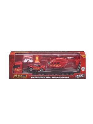 Игровой набор Перевозчик с пожарными машиной и вертолетом, 1:64 HTI. Цвет: красный