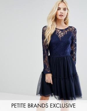 John Zack Petite Платье мини для выпускного с кружевным топом и юбкой из тюля. Цвет: темно-синий
