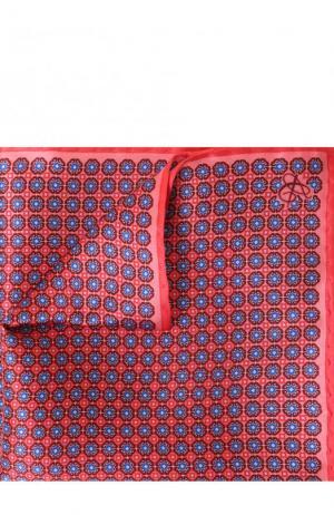 Шелковый платок с узором Canali. Цвет: красный