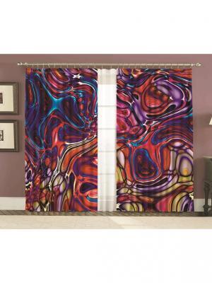 Комплект шторы, Лиловое стекло 150*270 (2) + тюль МарТекс. Цвет: синий, красный, фиолетовый