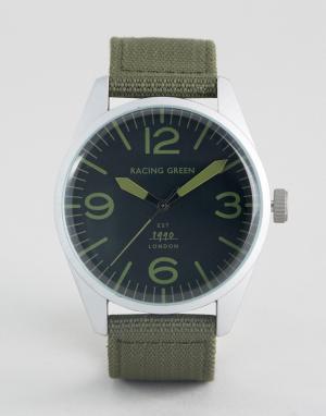 Racing Green Зеленые часы с нейлоновым зеленым ремешком. Цвет: зеленый