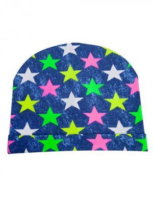 Шапка Звезды джинс Bloomy. Цвет: темно-синий, салатовый