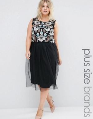 Praslin Платье с отделкой на топе и тюлевой юбкой Plus. Цвет: черный