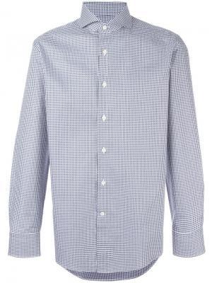 Рубашка в клетку Canali. Цвет: синий