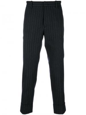 Укороченные полосатые брюки Paolo Pecora. Цвет: серый