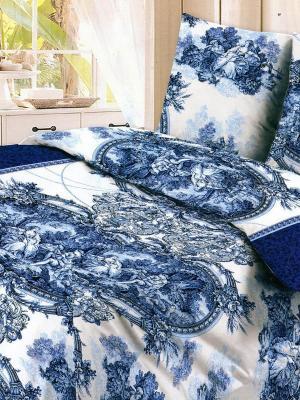 Комплект постельного белья Letto B114-3, бязь, 1,5-сп. Цвет: синий