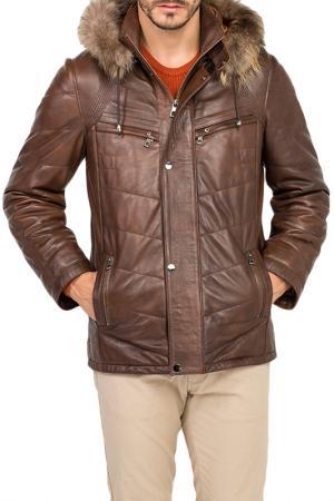 Кожаная куртка JIMMY SANDERS. Цвет: коричневый