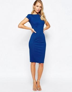 Closet London Платье-футляр с присборенными короткими рукавами. Цвет: черный