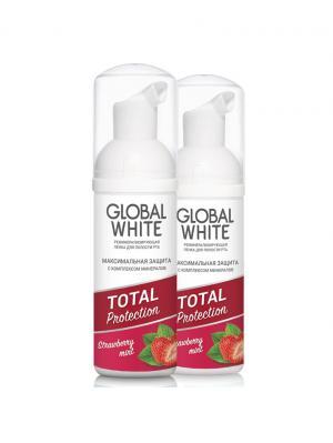 Набор Пенок реминерализирующих для полости рта - Клубника и мята, 2 шт. по 50 мл Global White. Цвет: лиловый, белый, малиновый