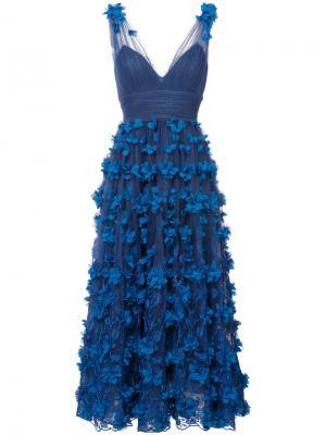 Полупрозрачное платье с пышной юбкой Marchesa Notte. Цвет: синий