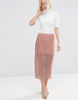 ASOS Прозрачная сетчатая юбка с плиссировкой. Цвет: бежевый