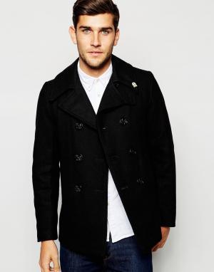 Fidelity Черное пальто-бушлат производства США. Цвет: черный
