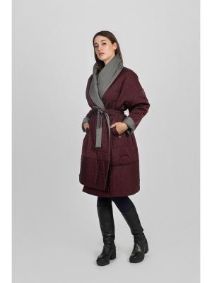 Пальто двустороннее с поясом PAROLE by Victoria Andreyanova. Цвет: серый, бордовый