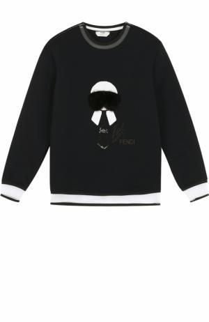 Свитшот с полупрозрачными вставками и меховой отделкой Fendi. Цвет: черный