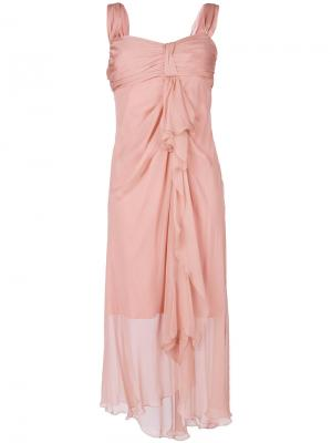 Асимметричное струящееся платье Alberta Ferretti. Цвет: телесный