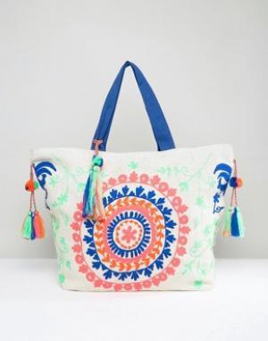America & Beyond Фестивальная сумка из джута с цветочной вышивкой. Цвет: мульти