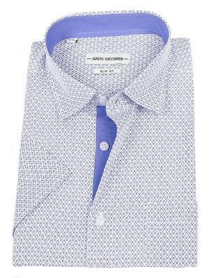 Рубашка Hans Grubber. Цвет: синий, белый