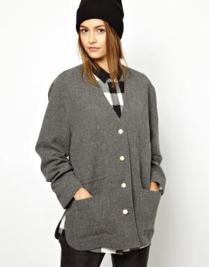 Шерстяной офисный пиджак BACK by Ann-Sofie Ann Sofie. Цвет: серый меланж