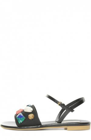 Текстильные сандалии Astrid с камнями Stella McCartney. Цвет: черный