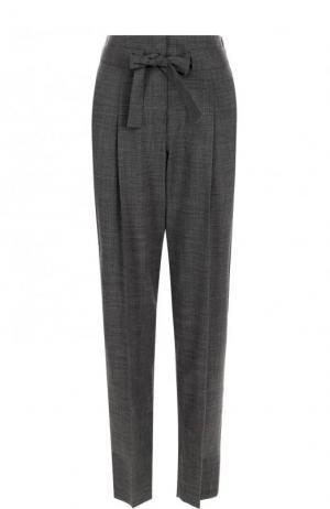 Укороченные шерстяные брюки с защипами и поясом Windsor. Цвет: серый