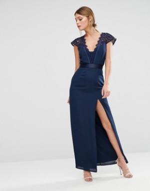 Elise Ryan Платье макси с высоким разрезом и фигурным кружевом. Цвет: темно-синий