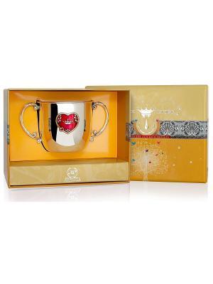 Поильник КД Сердце с эмалью пр.925+футляр АргентА. Цвет: серебристый