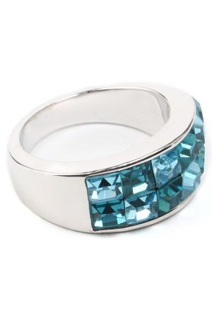 Кольцо Кэрри, 2рядное Crocus-Elite. Цвет: голубой