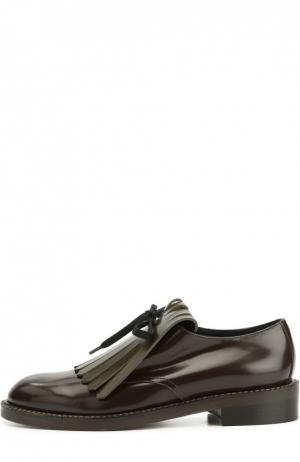 Кожаные ботинки с бахромой Marni. Цвет: коричневый