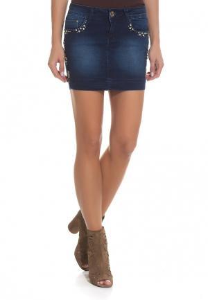 Юбка джинсовая DSHE. Цвет: синий