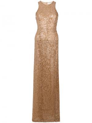 Вышитое пайетками платье в пол Galvan. Цвет: коричневый