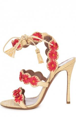 Босоножки Iris из рафии с вышивкой Tabitha Simmons. Цвет: бежевый