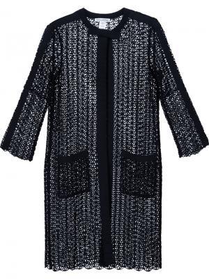 Пальто свободной вязки с пайетками Oscar de la Renta. Цвет: чёрный