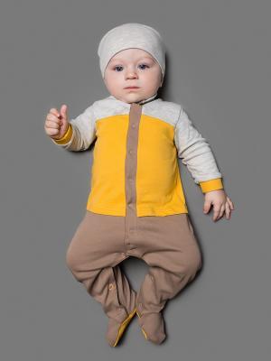 Комбинезон ЕМАЕ. Цвет: серый, желтый