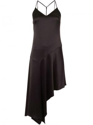 Платье с асимметричным подолом Halston Heritage. Цвет: чёрный