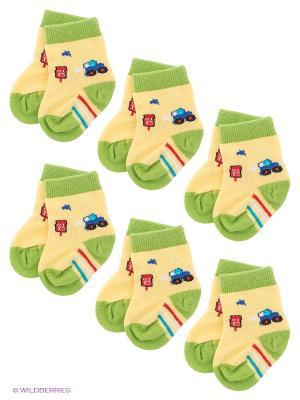 Носки, 6 пар Nirey. Цвет: светло-желтый, светло-зеленый