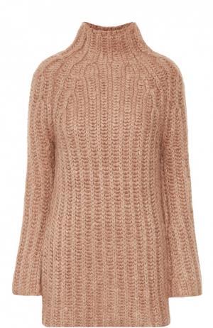 Удлиненный шелковый свитер фактурной вязки Valentino. Цвет: бежевый