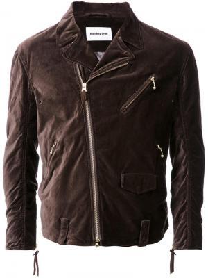 Узкая байкерская куртка monkey time. Цвет: коричневый