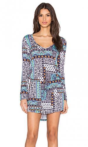 Платье с v-образным вырезом и длинным рукавом noel Michael Lauren. Цвет: синий