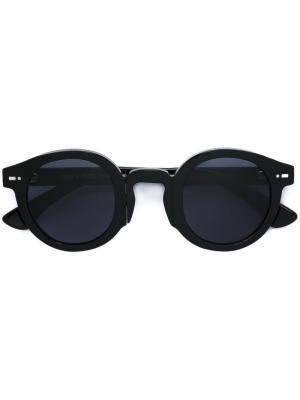 Солнцезащитные очки в круглой оправе Movitra. Цвет: чёрный